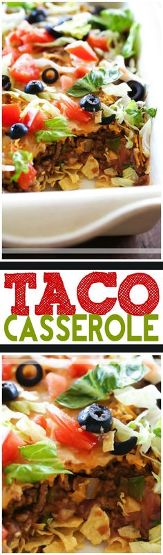 Taco Casserole… this is an easy and delicious dinner packed with incredible flavors and ingredients that your family will LOVE! Taco Casserole… this is an easy and delicious dinner packed with incredible flavors and ingredients that your family will LOVE! Mexican Dishes, Mexican Food Recipes, Beef Recipes, Cooking Recipes, Recipies, Chicken Recipes, I Love Food, Good Food, Yummy Food