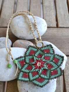 Macrame mandala flower necklace