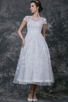 Modern Cap-sleeve Dress With Illusion Neckline and Beaded Lace Applique - Dorris Wedding