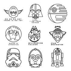 Star Wars Art Discover Digital Image Set Star Wars - Galactic Line Art Star Wars Kunst, Star Wars Art, Star Wars Icons, Star Wars Crafts, Images Star Wars, Star Images, Star Wars Tattoo, Death Star Tattoo, Star Wars Drawings