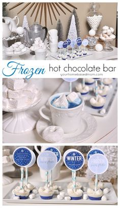 A Frozen themed hot chocolate bar is the perfect way to celebrate your first snowfall, a birthday celebration for your Frozen fans or just because!