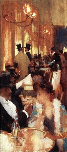 Au Cafe 1888, Painting by Willard Leroy Metcalf