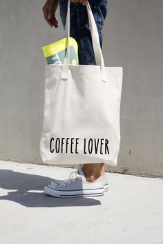 "Coffee Lover tote cotton bag, American Apparel high quality tote,14 3/8"" x 14""/36.5 x 35.6 cm, natural tote, black application.#MONOCHROME"