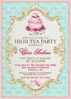 Welcome/Farewell...High Tea Invitation French Tea Party by WestminsterPaperCo on Etsy