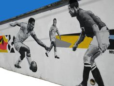 The genius of the football player - graffiti in Sao Paulo - Brazil