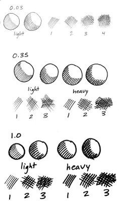JB and RS (Section 3) This image shows various examples of hatching and cross-hatching. As can be seen in these drawings, hatching creates tonal or shading effects by drawing parallel lines close to one another, while cross-hatching uses two layers of hatching to form a mesh-like pattern.