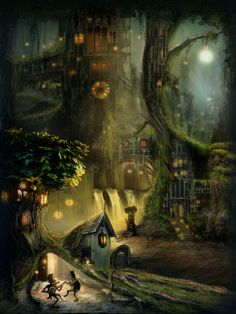 Amazing forest fantasy world.  By my talented boyfriend, Giovani.