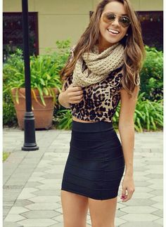 Leopard top and black skirt