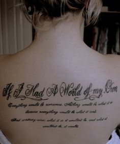 alice in wonderland, quotes, sayings, cute, lettering, women, back, tattoos