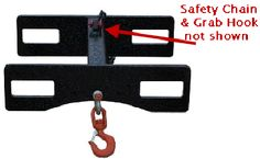 """Universal Fit Lift Hook is designed to utilize the full capacity of your liftfork and can be used with both straight-mast and extendable-reach forklifts. Rugged heavy duty construction ensures long term durability and a high strength chain and grab hook secures Lift Hook to forklift. Specs: Overall dimensions are 29""""w x 9-3/4""""h x 24-1/4""""l (6000lbs Cap.),"""