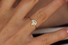 Sooooo pretty Pear Diamond Engagement Ring with Pave Diamonds Crown - 0.3 Carat Pear Diamond - 18k Solid Gold