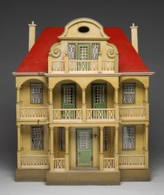 THREE-STORY GOTTSCHALK RED ROOF DOLLHOUSE, nice old dollhouse with nice old colors.  .....Rick Maccione-Dollhouse Builder www.dollhousemansions.com