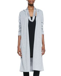 6c301f520ad4d8 Eileen Fisher Hooded Long Organic Cotton Cardigan