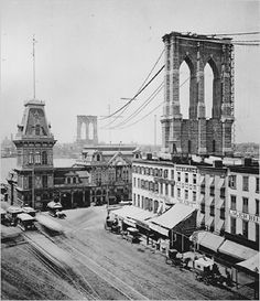 new york tucked away under the bridge old fulton street in brooklyn during the construction of the Brooklyn Bridge -- early Brooklyn Bridge, Brooklyn New York, Vintage New York, Old Pictures, Old Photos, New York City, Photo New York, Ville New York, Fulton Street