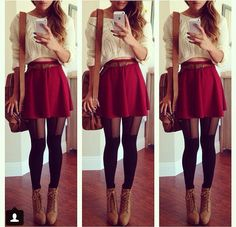 A cute red skirt with a high waisted sweater for the end of summer and beginning of fall