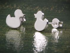 Duck Earrings Silver Studs Animal Earrings Cute by Wavejewels