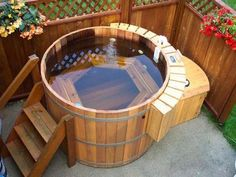 I am still really snobbish about what counts as a 'hot tub'. I am sorry, but if it is made of fiberglass it is called a jacuzzi.or a bathtub. Spa Design, House Design, Design Ideas, Design Styles, Bath Design, Wood Design, Garden Design, Spas, Outdoor Projects