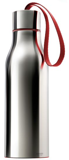 Polished stainless steel with red strap. The Eva Solo vacuum flask has a screw top incorporating a carring strap. Id Digital, Water Flask, Id Design, Modern Design, Innovation, Vacuum Flask, Bottle Design, Danish Design, Metal