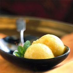 Pineapple sorbet... perfect in sultry summer weather. via My Recipes