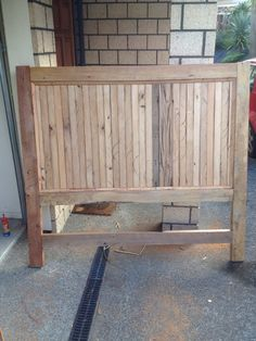 A head board that I build out of recycled rimu Wooden Crates, Outdoor Furniture, Outdoor Decor, Recycling, Board, Table, Home Decor, Wood Boxes, Homemade Home Decor