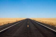 Beautiful Road Photo Through Central Washington Wheat Fields
