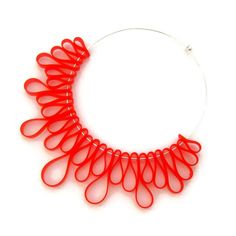 sculptural bib necklace red rubber jewelry designer by frankideas