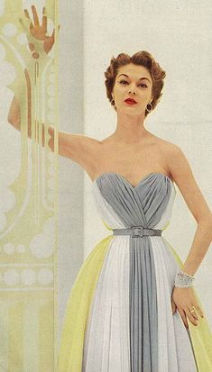 Jean Patchett sporting a strapless grey, white and cheerful yellow hued evening dress. vintage 1950s color block tri-tone gown grey white yellow strapless belted model magazine formal wear photo print ad