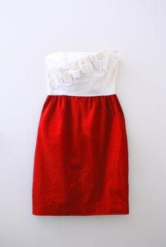 Two Tone Haute Couture Bridesmaid Dress in Cream and Lipstick Red. $150.00, via Etsy.