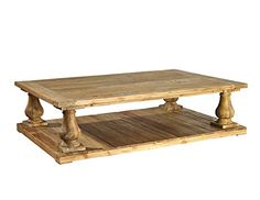 Sloane Elliot SE0370 Balustrade Coffee Table, Natural Wood Finish