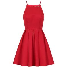 **Chi Chi London Petite Red Fit And Flare Dress ($110) ❤ liked on Polyvore featuring dresses, red, vestidos, petite, fit flare dress, red day dress, red dress, petite dresses and chi chi dresses