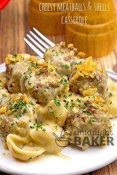 Meatballs and shells pasta cooked in a creamy cheesy beefy sauce. Meatballs and shells pasta cooked in a creamy cheesy beefy sauce. Cheesy Meatballs, Cheese Stuffed Meatballs, Meatballs And Pasta, Beef Casserole Recipes, Casserole Dishes, Meatball Casserole, Hamburger Casserole, Chicken Casserole, Stuffed Shells Recipe