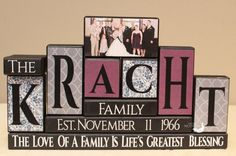 Custom Family Name Wood Blocks Personalized with Photo - Established Date Housewarming Gift Real Estate Closing Present 6 Letters Name Wood Block Crafts, Wooden Crafts, Paper Crafts, Personalized Housewarming Gifts, Word Block, Name Blocks, Family Christmas Gifts, Christmas Wood, Christmas Signs