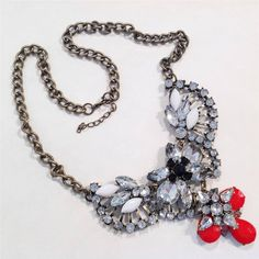 "CYBER MONDAY Deal Chunky Crystal Red Clear Antique Gold 22"" Long Chic Necklace #uniklook #chunkynecklaceearringsset"