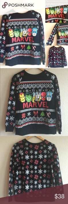 CHRISTMAS MARVEL  HULK IRON THOR SPIDERMAN, LG GREAT Condition sweater, sweatshirt.  JUNIORS SIZE LARGE!  Front and back designs!  Very detailed!  AX2065Z16G Marvel Sweaters Crew & Scoop Necks