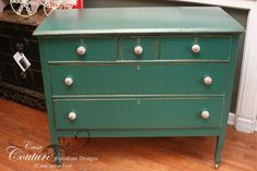 Classic Hunter Green Antique Dresser ~ no. 14265 ~ $429 ~ 42L x 20D x 35H ~ ships anywhere in the lowers 48 states for $250