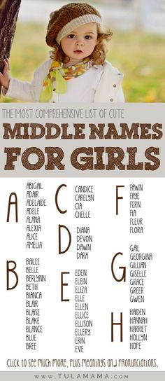 Gender neutral names Pretty middle names for girls - genderneutral Unique Girl Middle Names, Simple Girl Names, Cute Middle Names, Baby Girl Middle Names, Pretty Girls Names, Baby Girl Names, Long Girl Names, Kid Names, Korean Girls Names