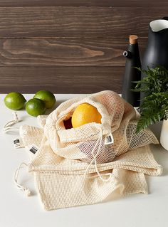 Mesh reusable produce bags Set of 3 Bamboo Care, Sources Of Fiber, Produce Bags, Plastic Waste, Filets, Simple Bags, Reusable Bags, Biodegradable Products, Bags