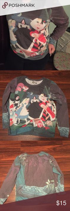 Crewneck Alice in Wonderland Sweatshirt Thin sweatshirt material, most suitable for fall/spring with all over print, worn only a couple of times. Disney Sweaters Crew & Scoop Necks