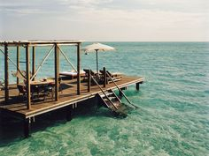The sundeck for one of the villas at Cocoa Island by COMO, Maldives.