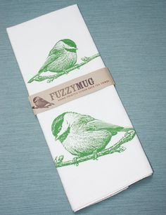 Chickadee Bird Tea Towel in Spring Green - Hand Printed Flour Sack Tea Towel Pudgy Bird, Throw In The Towel, World Crafts, Baby Music, Stencil Diy, Spring Green, Packaging Design Inspiration, Hostess Gifts, Decoration