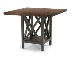 Carpenter Adjustable Height Square Table with X Pedestal by Flexsteel Wynwood Collection at Dream Home Furniture Glass Top Dining Table, Dining Room Table, Dining Area, Large Furniture, Dining Room Furniture, Home Furniture, Square Tables, Wood Construction, Fine Dining