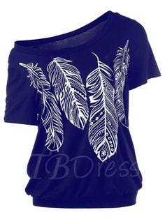 TBDress - TBDress Feather Print Oblique Collar Pleated Womens T-Shirt - AdoreWe.com