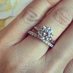 Loving our Tiffany Engagement Ring crafted with a Round Cut 2.5ct Diamond Hybrid® paired with our Arctic Eternity Wedding Band.