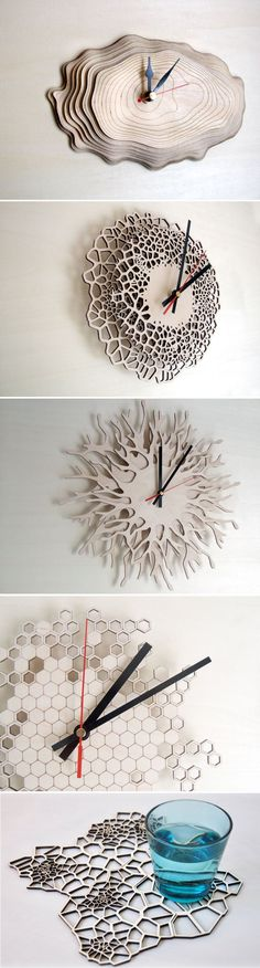 – Asymmetree Nature-Inspired Wood Clocks meuble en bois brut ambiance naturetableau etagere murale en bois de palette nature on the bench in nature family gift… Laser Cutter Ideas, Laser Cutter Projects, Cnc Projects, Wall Art Crafts, Wood Crafts, Diy And Crafts, Diy Wood, Gravure Laser, Diy Clock