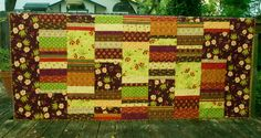 Large Twin Size Quilt Large Floral Fall by TwinSisCreations