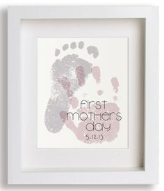 "Mother's Day handprint and footprint gifts:  ""First Mothers Day"" 8x10 Hand Print Print by Niko And Lily at Etsy"