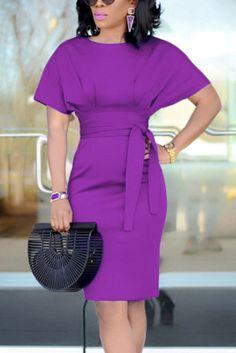 Fashion Sexy Short Sleeve Purple Dress Yellow Long Sleeve Dress, Yellow Dress, Purple Dress, Short Sleeve Dresses, Yellow Fashion, Red Fashion, White Fashion, Fashion Dresses, Style Fashion