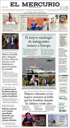 Une de El Mercurio (Chili) 20/04/2015