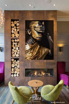 Home Fireplace, Modern Fireplace, Living Room With Fireplace, Fireplace Design, Fireplace Surrounds, Luxury Home Decor, Luxury Interior, Home Interior Design, Interior Architecture