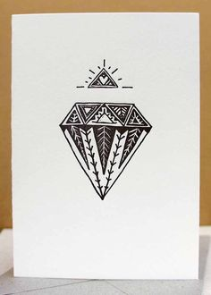 letterpress black diamond card hand drawn tribal by thelittlepress